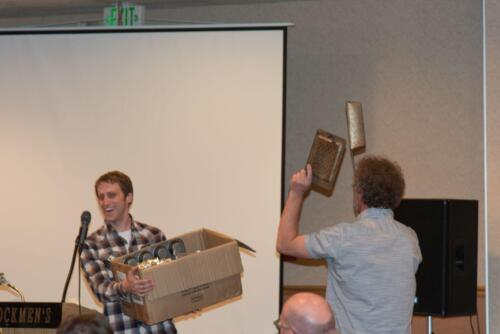 Andrew and Mark, hawking some ancient kitchen implements during the auction